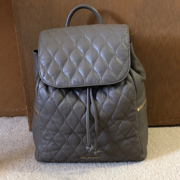 691a44eb8be0 Vera Bradley Quilted Amy Backpack - Taupe leather.  M 5ac653ee5512fd00d131480f